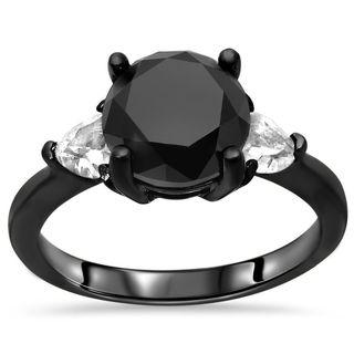 Noori Certified 14k Black Gold 1 3/4ct TDW Black Diamond and Sapphire Ring