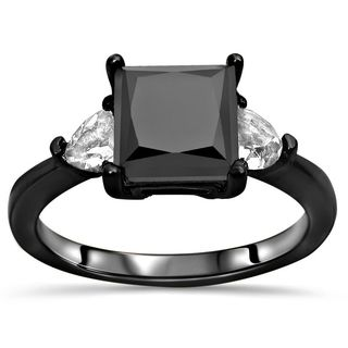 Noori Certified 14k Black Gold 1 3/5ct TDW Black Diamond and Trillion White Sapphire Ring