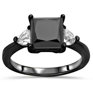 Noori Certified 14k Black Gold 1 3/5ct TDW Black Diamond and Trillion White Sapphire Ring