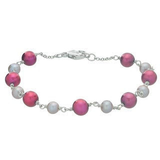 Pearls For You Sterling Silver Dyed Grey & Cranberry 7.5-inch Bracelet (5-5.5 mm, 6.5-7 mm)