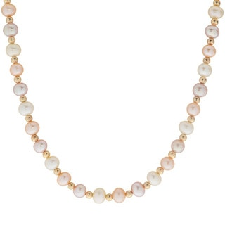 Pearls For You 10k Yellow Gold Multi-color Freshwater Pearl Bead Necklace (5-5.5 mm)
