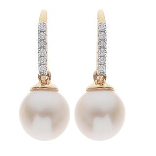 Pearls For You 14k Yellow Gold White Freshwater Pearl and Diamond Accent Earrings (H-I, I1-I2) (8-8.5 mm)