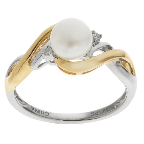 Pearls For You 14k Two-tone Freshwater Pearl and Diamond Ring (H-I, I1-I2) (7-7.5 mm)