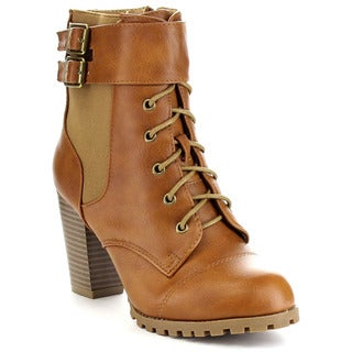 BELLA MARIE CICI-25 Women's High Stacked Lace Up Buckle Zip Up Ankle Bootie