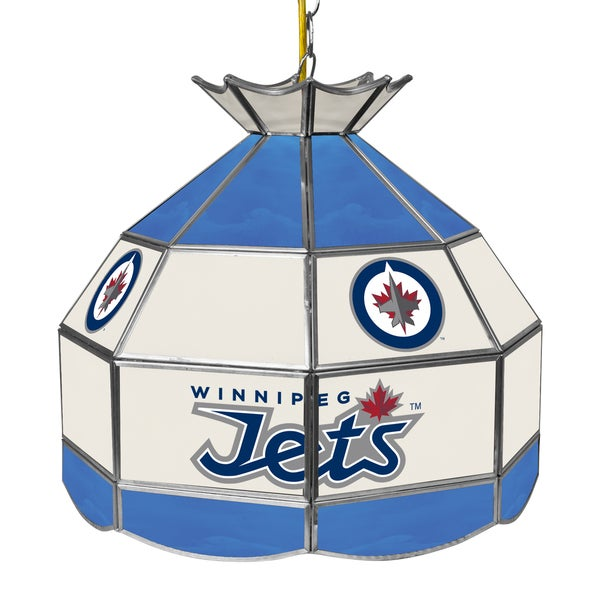 NHL 16 Inch Handmade Tiffany Style Lamp - Winnipeg Jets