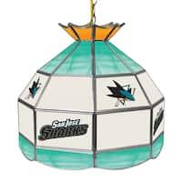 NHL 16 Inch Handmade Tiffany Style Lamp - San Jose Sharks
