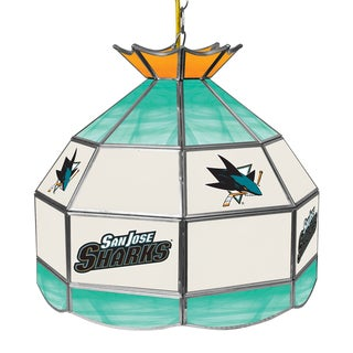 NHL 16 Inch Handmade Tiffany Style Lamp - San Jose Sharks