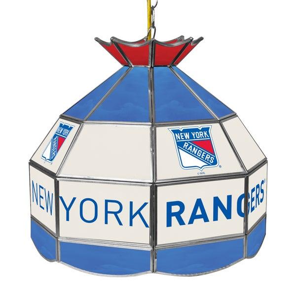 NHL 16 Inch Handmade Tiffany Style Lamp - New York Rangers
