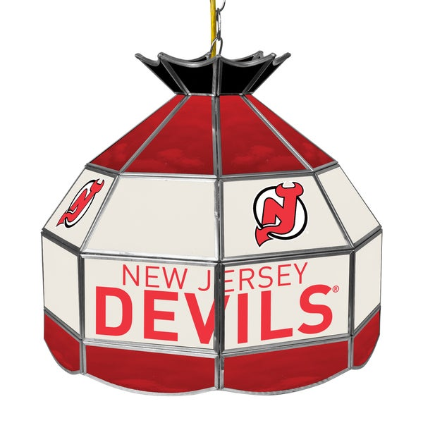 NHL 16 Inch Handmade Tiffany Style Lamp - New Jersey Devils