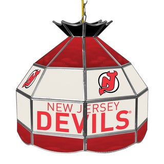 NHL 16 Inch Handmade Tiffany Style Lamp - New Jersey Devils