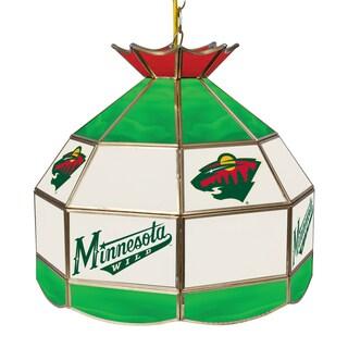 NHL 16 Inch Handmade Tiffany Style Lamp - Minnesota Wild