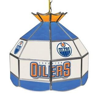 NHL 16 Inch Handmade Tiffany Style Lamp - Edmonton Oilers