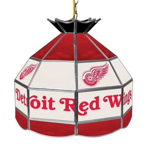 NHL 16 Inch Handmade Tiffany Style Lamp - Detroit Redwings