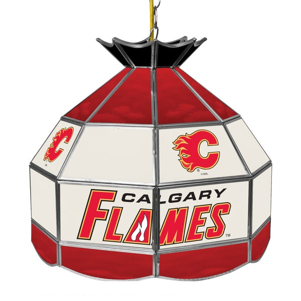 NHL 16 Inch Handmade Tiffany Style Lamp - Calgary Flames