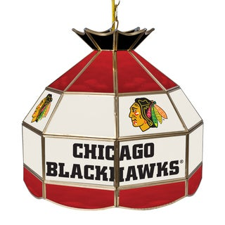 NHL 16 Inch Handmade Tiffany Style Lamp - Chicago Blackhawks