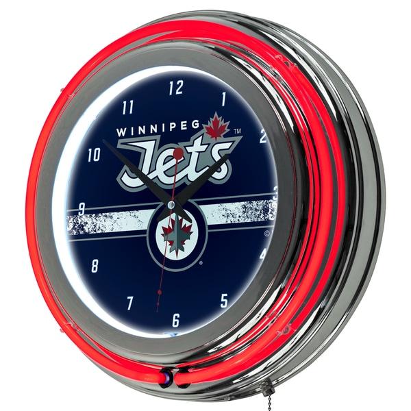 NHL Chrome Double Rung Neon Clock - Winnipeg Jets