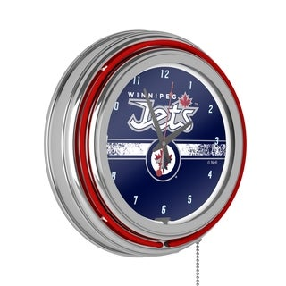 NHL Chrome Double Rung Neon Clock - Winnipeg Jets