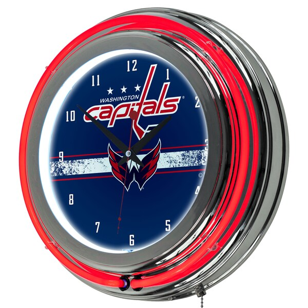 NHL Chrome Double Rung Neon Clock - Washington Capitals