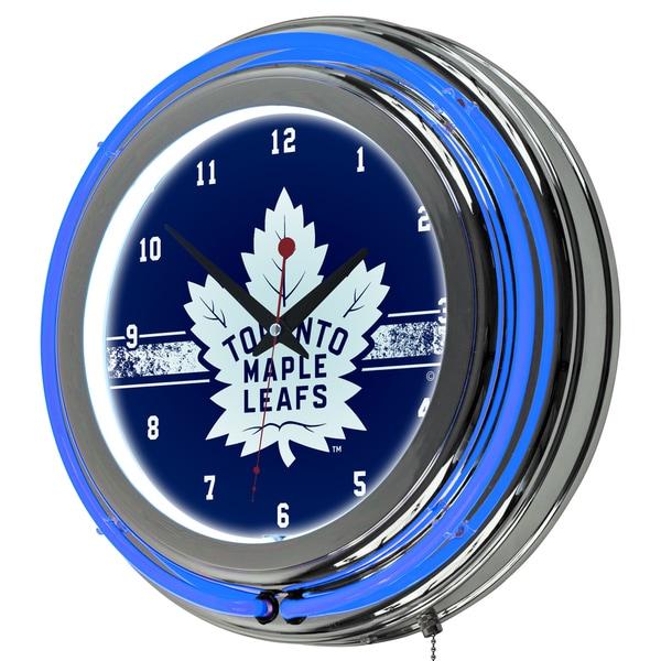 NHL Chrome Double Rung Neon Clock - Toronto Maple Leafs