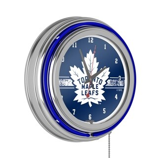 NHL Chrome Double Rung Neon Clock - Toronto Maple Leafs
