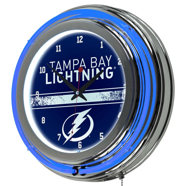 NHL Chrome Double Rung Neon Clock - Tampa Bay Lightning