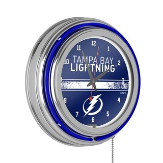 NHL Chrome Double Rung Neon Clock - Tampa Bay Lightning