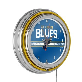 NHL Chrome Double Rung Neon Clock - St. Louis Blues