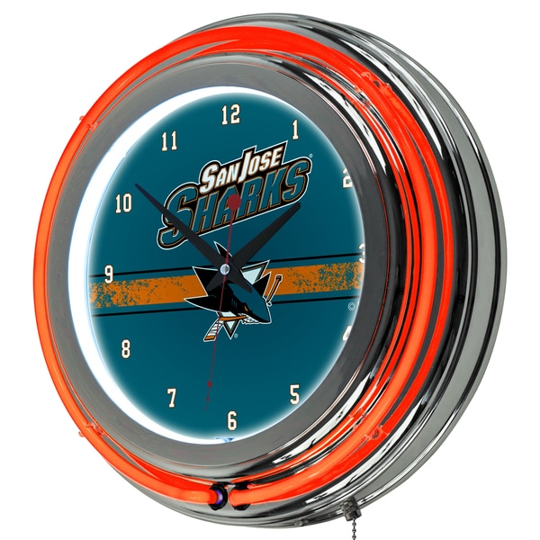 NHL Chrome Double Rung Neon Clock - San Jose Sharks