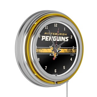 NHL Chrome Double Rung Neon Clock - Pittsburgh Penguins