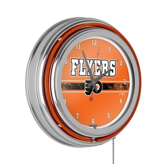 NHL Chrome Double Rung Neon Clock - Philadelphia Flyers