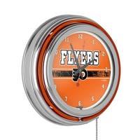 NHL Chrome Double Rung Neon Clock - Philadelphia Flyers
