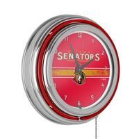 NHL Chrome Double Rung Neon Clock - Ottawa Senators