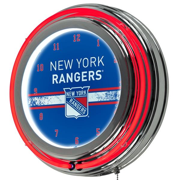 NHL Chrome Double Rung Neon Clock - New York Rangers