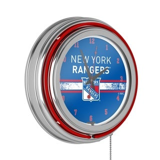 NHL Chrome Double Rung Neon Clock - New York Rangers