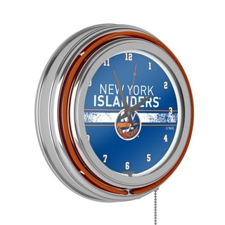 NHL Chrome Double Rung Neon Clock - New York Islanders