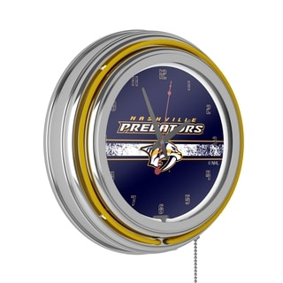 NHL Chrome Double Rung Neon Clock - Nashville Predators