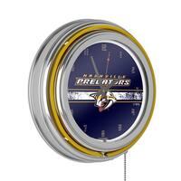 NHL Chrome Double Rung Neon Clock - Nashville Predators