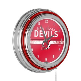 NHL Chrome Double Rung Neon Clock - New Jersey Devils