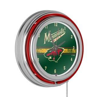 NHL Chrome Double Rung Neon Clock - Minnesota Wild