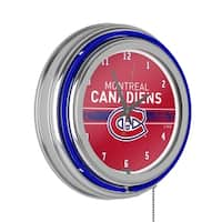 NHL Chrome Double Rung Neon Clock - Montreal Canadiens