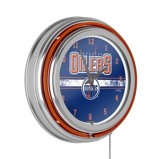 NHL Chrome Double Rung Neon Clock - Edmonton Oilers