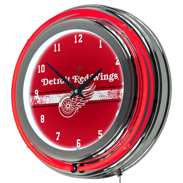 NHL Chrome Double Rung Neon Clock - Detroit Redwings