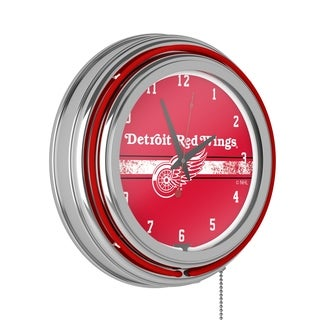 NHL Chrome Double Rung Neon Clock - Detroit Redwings