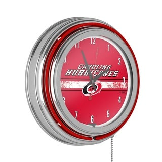 NHL Chrome Double Rung Neon Clock - Carolina Hurricanes