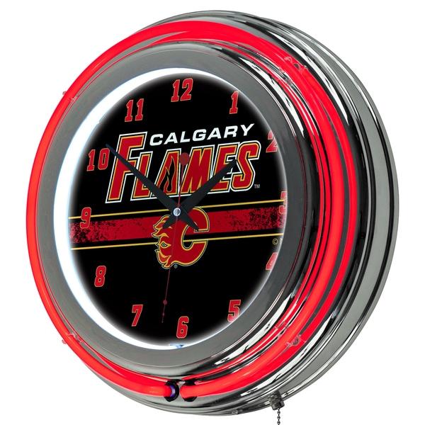 NHL Chrome Double Rung Neon Clock - Calgary Flames