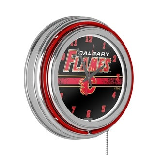NHL Chrome Double Rung Neon Clock - Calgary Flames