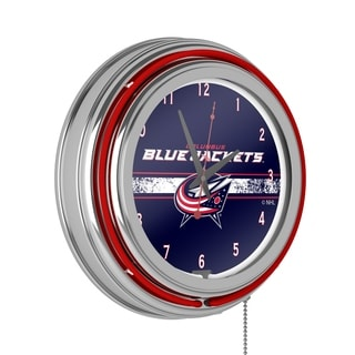 NHL Chrome Double Rung Neon Clock - Columbus Blue Jackets