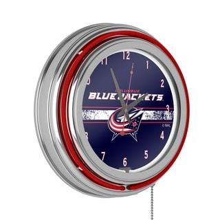 NHL Chrome Double Rung Neon Clock - Columbus Blue Jackets
