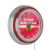NHL Chrome Double Rung Neon Clock - Chicago Blackhawks
