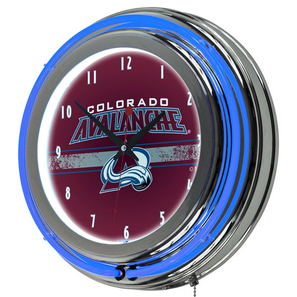 NHL Chrome Double Rung Neon Clock - Colorado Avalanche